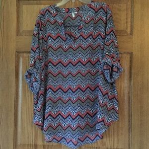 Cato Patterned Zigzag Tunic Top 22/24W